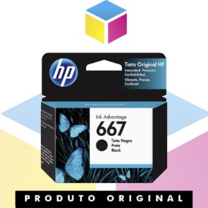 Cartucho de tinta HP 667 Original Preto | 3YM79AL HP 2376 HP 2775 | 2ML