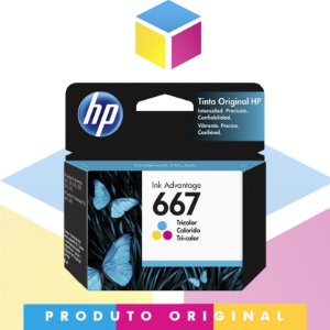 Cartucho de tinta HP 667 Original Colorido | 3YM78AL HP 2376 HP 2775 | 2ML