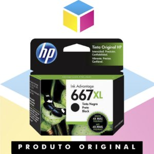 Cartucho de tinta HP 667 XL Original Preto | 3YM81AL HP 2376 HP 2775 | 8.5ML