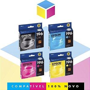 Kit com 4 Cartuchos de Tinta Epson 196 Preto + Epson 196 Ciano + Epson 196 Magenta + Epson 196 Amarelo | XP 401 XP 411 WorkForce 2532 | Original
