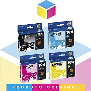 Kit Epson 194 Ciano Original 3 ml + Epson 194 Magenta Original 3 ml + Epson 194 Amarelo Original 3 ml + Epson 194 Preto Original 4 ml