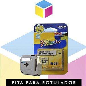 Fita para rotulador Brother M231 Branca com escrita Preta | PT 65 PT 85 PT 100 PT 110 | 8m x 12mm