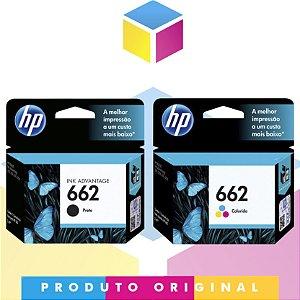 Kit Cartucho HP 662 Preto Original 2 ml + Cartucho HP 662 Colorido Original 2 ml | CZ 103 AL CZ 103 AB  CZ 104 AB CZ 104 AL