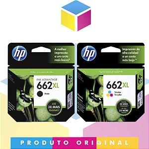 Kit Cartucho HP 662 XL Preto Original 6.5 ml + Cartucho HP 662 XL Colorido Original 8 ml | CZ 106 AB CZ 106 AL CZ 106 AB CZ 106 AL
