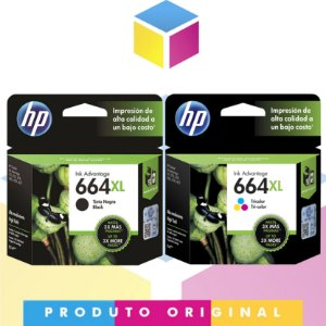 Kit HP 664 XL Preto Original 8.5 ml + Cartucho HP 664 XL Colorido Original 8 ml | Hp Deskjet 1115 4536 2136 3636 3836 3536 4676