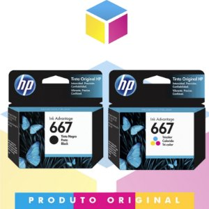 Kit HP 667 Original Preto 2 ml + HP 667 Original Colorido 2 ml | 3YM79AL HP 2376 HP 2775