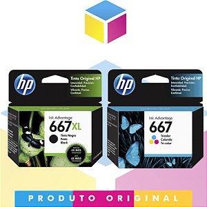 Kit HP 667 XL Original Preto 8.5 ml + HP 667 Original Colorido 2 ml | 3YM79AL HP 2376 HP 2775