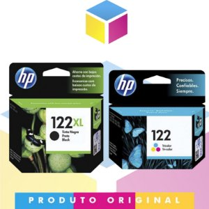 Kit HP 122 XL Original Preto 8 ml + HP 122 Original Colorido 2 ml |  CH563HB B 122