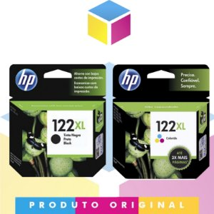 Kit HP 122 XL Original Preto 8 ml + HP 122 XL Original Colorido 7.5 ml |  HP 122 CH 563 HB