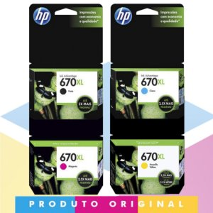 Kit HP 670 XL Original Preto 14 ml + HP 670 XL Original Ciano 7,5 ml + HP 670 XL Original Magenta 8 ml + HP 670 XL Original Amarelo 9 ml