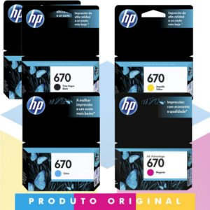 Kit 2x HP 670 Original Preto 7,5 ml + HP 670 Original Ciano 3,5 ml + HP 670 Original Magenta 4 ml + HP 670 Original Amarelo 3,5 ml