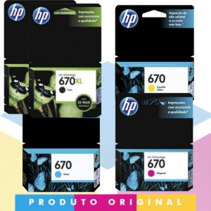 Kit 2x HP 670 XL Original Preto 14 ml + HP 670 Original Ciano 3,5 ml + HP 670 Original Magenta 4 ml + HP 670 Original Amarelo 3,5 ml