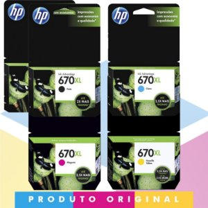 Kit 2x HP 670 XL Original Preto 14 ml + HP 670 XL Original Ciano 7,5 ml + HP 670 XL Original Magenta 8 ml + HP 670 XL Original Amarelo 9 ml