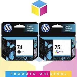 Kit HP 74 Preto Compatível 5,5 ml + HP 75 Colorido Compatível 5,5 ml | CB335WB CB337WB | D 1660 F 4280 F 4480