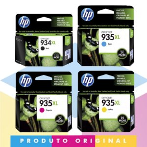 Kit HP 934 XL Original Preto 25 ml + HP 935 XL Original Ciano 9,5 ml + HP 935 XL Original Magenta 9,5 ml + HP 935 XL Original Amarelo 9,5 ml