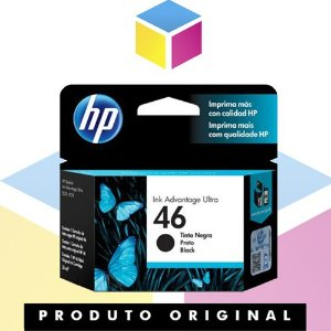 Cartucho de Tinta HP 46 CZ637AL CZ637AB Preto Original | Deskjet Ink Advantage 2529 4729 5738 | 26ml