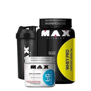 Whey pro (900g) + Glutamina (150g) - Max Titanium + coqueteleira.
