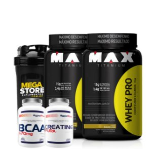 Kit 2x Whey 900g + Bcaa + Crea - Max Titanium