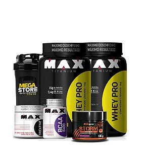 Kit 2x Whey 900g + Bcaa + Crea + Coqueteleira+ Storm - Max Titanium