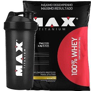 100% Whey 2kg - Max Titanium + Coqueteleira