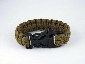 Bracelete Pulseira Tático Sobrevivência Paracord 550 com Apito