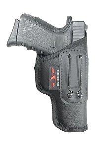 Coldre Para Pistola GLOCK G25, 840, 838, 24/7 em Neoprene e Couro P.U (Paisana) Sem aba