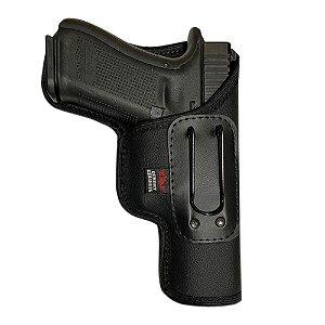 Coldre Velado Para Glock G17, G22 e Taurus TH9, TH380, TH40 Em Neoprene e Couro P.U