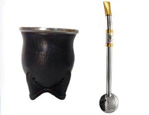 Kit Cuia couro uruguai e bomba aço inox ouro