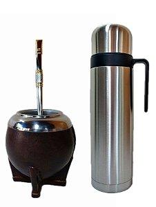 Kit chimarrão cuia torpedo bomba aço inox e térmica 1 litro