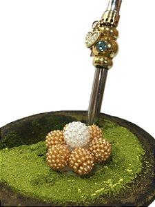 Enfeite de chimarrão flor dourada