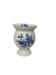 Cuia cerâmica flores azuis