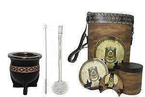 Kit chimarrão cuia cerâmica couro pampa bomba e Mateira com acessorios