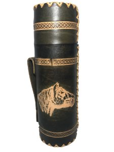 Garrafa Térmica aço Inox 1 Litro Revestida em couro Cavalo Crioulo