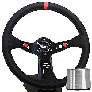 Volante Esportivo Lotse Dakar Couro Tarja Vermelha + Cubo de instalação