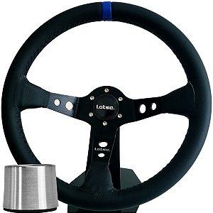 Volante Esportivo Lotse Dakar Couro Tarja Azul + Cubo De Instalação