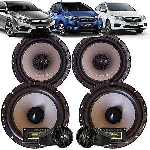 Kit Falante Audiophonic Sensation 240w Rms Honda City Fit Civic G8 G9 G10 Som Automotivo