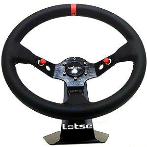 Volante Esportivo Lotse Dakar Couro Tarja Vermelha