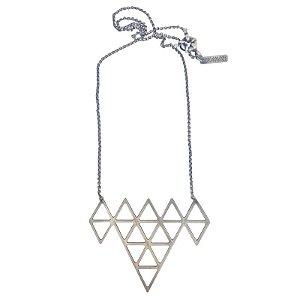 Colar Triângulos prata velha