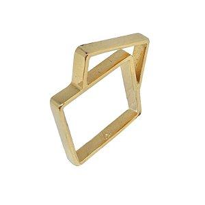 Anel Double Square dourado