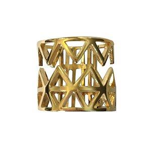 Anel Triângulos C dourado