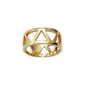 Anel Triângulos dourado