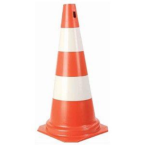 Cone PVC Rigido 50cm  Laranja/Banco : Plastcor