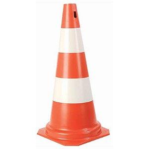 Cone PVC Rigido 75cm  Laranja/Banco : Plastcor