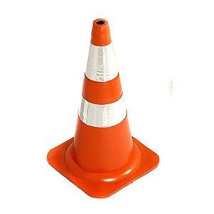 Cone Flexivel ABNT NBR15071 75cm C/ Refletivo Laranja/Banco : Plastcor