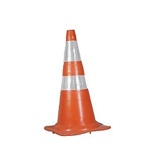 Cone PVC Flexivel Leve 75cm C/ Refletivo Laranja/Banco : Plastcor