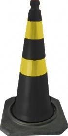 Cone PVC Flexivel Leve 75cm C/ Refletivo Preto/Amarelo : Telbras