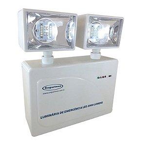 Luminaria Emergencia 2 Farois Led Bivolt 2000 Lumens Branco : Segurimax