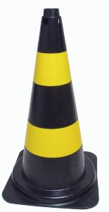 Cone PVC Rigido 75cm  Preto/Amarelo : Telbras (342)