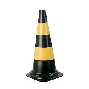 Cone PVC Rigido 50cm  Preto/Amarelo : Plastcor (3339)