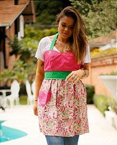 Avental Juliette Pink e Verde Bandeira Arabescos